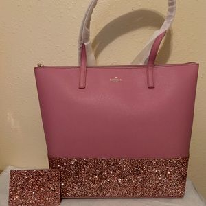 Kate Spade Dusty Peony Glitter Tote & Card Holder